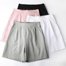 棉麻休閒五分褲 闊腿褲粉色短褲女夏季薄款冰絲褲子新款高腰大碼棉麻休閒五分褲 韓菲兒