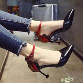 高跟鞋 尖頭細跟高跟鞋單鞋女夏正韓百搭時尚一字扣包跟貓跟鞋子【甲乙丙丁生活館】