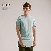 Life8-Casual 精梳棉質 剪接長版開衩上衣-淺藍【03811】