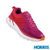 【線上體育】 HOKA ONE ONE女 Clifton 6 寬楦 超緩震跑鞋 罌粟紅/仙人掌花紫,