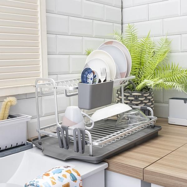 【週年慶開跑全館8折起】SPACE鋁製雙層碗盤瀝水架-生活工場