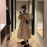 大風衣中長款棉風衣外套女2018冬季新款韓版大擺寬鬆收腰夾棉流行大衣潮 艾維朵