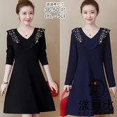 【YOUNGBABY】V型繡花荷葉領純色洋裝.黑/藍(36-50)