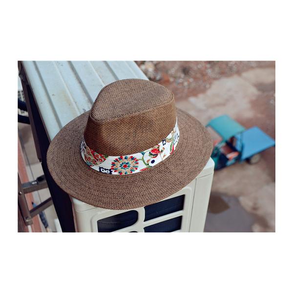 草帽 圖騰 印花 英倫風 爵士帽 遮陽 沙灘 草帽【NC008】 BOBI  04/27