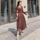 秋冬打底針織長袖連衣裙拼接網紗裙顯瘦慵懶風中長款洋裝