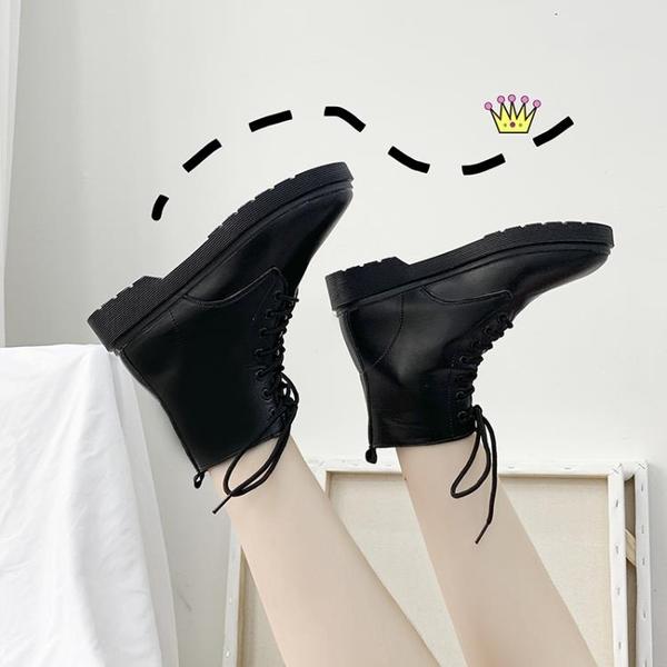短靴 馬丁靴女英倫風學生韓版百搭短靴夏季新款春秋小皮靴機車透氣