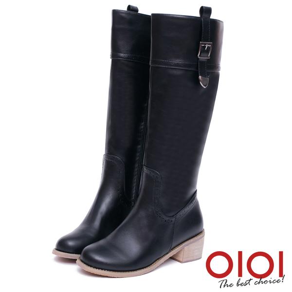 長靴 時尚前線金屬釦環長筒跟靴(黑) *0101shoes【18-1777bk】【現貨】
