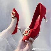 紅色婚鞋女細跟高跟鞋秀禾中式伴娘鞋方扣結婚鞋子新娘鞋中跟孕婦 雙十二全館免運