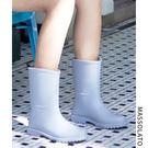 雨鞋女韓國可愛水鞋女士中筒防水時尚款外穿水靴防滑膠鞋成人雨靴 喵小姐