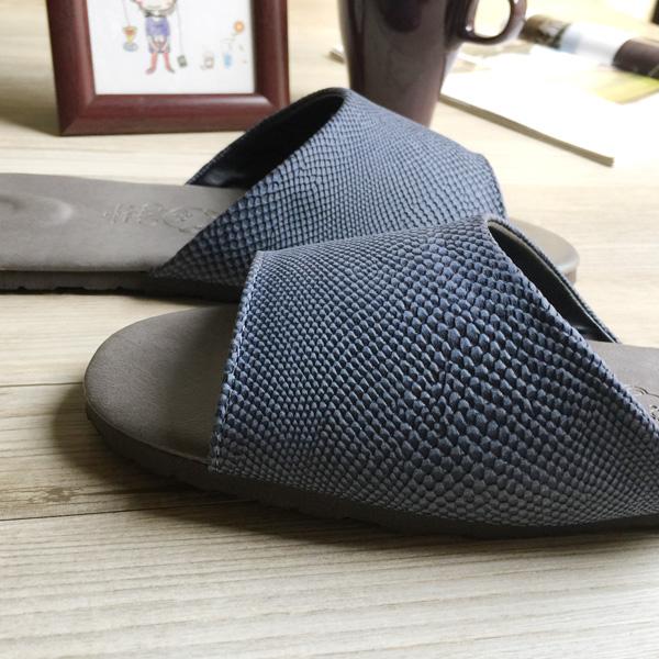 台灣製造-風格系列-晶鑽紋皮質室內拖鞋-藍