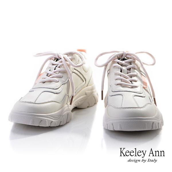 2019秋冬_Keeley Ann輕運動潮流 經典綁帶休閒鞋(米白色)-Ann系列
