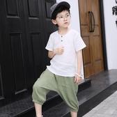 男童短袖套裝夏裝新款中童夏季童裝兒童寬鬆垮褲棉麻兩件套潮  9號潮人館