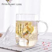 馬克杯比得兔印花玻璃杯水杯茶杯公雞杯果汁杯清新馬克杯帶蓋杯子(1件免運)