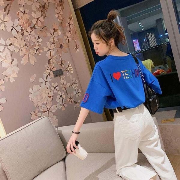 短袖T恤 刺繡女裝新款韓版寬松小眾設計感五分短袖T恤超火大碼上衣潮 快速出貨