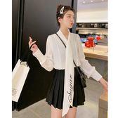 VK精品服飾 韓系刺繡蝴蝶結雪紡襯衫長袖上衣