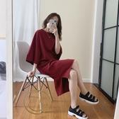 下擺開叉前短后長連身裙女夏新款韓版寬鬆慵懶風中長款短袖T恤裙 韓國時尚週