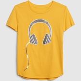 Gap女童棉質舒適圓領短袖T恤546074-黃色