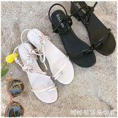 韓國綁帶粗跟中跟羅馬低跟夾趾百搭涼鞋露趾簡約交叉綁帶高跟鞋女 糖糖日系森女屋