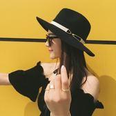 618好康鉅惠帽子女草帽夏季英倫韓版太陽沙灘黑色禮帽