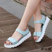 夏季女生涼鞋平底韓版學生女鞋子 伊人閣