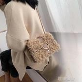 2019秋冬新款時尚羊羔毛 女包包金屬裝飾鍊條斜挎單肩包潮  潮流衣館