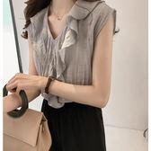 【GZ23】韓版甜美氣質荷葉邊雪紡衫寬鬆無袖上衣 M~4XL