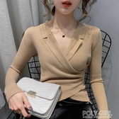v領打底毛衣女內搭新款洋氣網紅修身外穿加厚套頭針織衫 poly girl