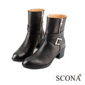 SCONA 全真皮 時尚率性雙拉跟靴 黑色 8772-1