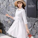 法式隨意俐落個性排扣襯衫裙洋裝(附腰封)[98750-QF]美之札