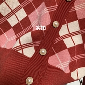 針織開衫 復古新年聖誕紅色格紋針織開衫女冬慵懶加厚外穿短款毛衣外套