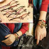 【Q70A25】魔衣子手工製作十二星座皮繩圓牌麻繩圈手鏈