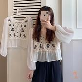 雪紡衫女氣質上衣鏤空鉤花長袖內搭短款小衫【橘社小鎮】
