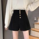 黑色毛呢褲子女秋冬季寬鬆外穿靴褲2021新款高腰顯瘦直筒休閒短褲 貝芙莉