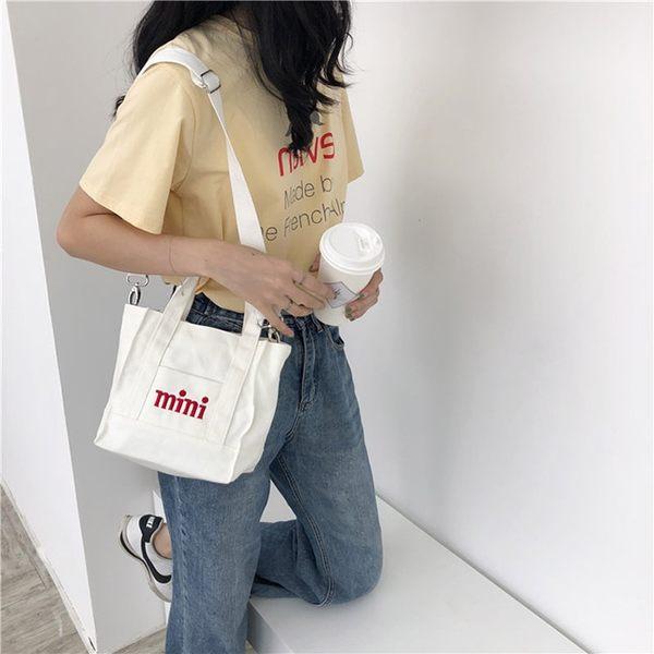 斜背包 字母 迷你 小方包 手提包 帆布包 斜背包 環保購物袋--手提/單肩/拉鏈【SPC35】 icoca  09/13