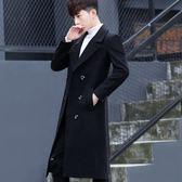 男士風衣長款過膝秋冬季修身韓版潮流毛呢大衣學生中長款呢子外套  初見居家