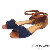 Tino Bellini巴西進口網格布料繫踝平底涼鞋_ 藍 C73401 歐洲進口款