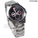 TIVOLINA 個性三眼 賽車錶 多功能 日期 星期 防水手錶 藍寶石水晶鏡面 男錶 黑色 MAW3731-K
