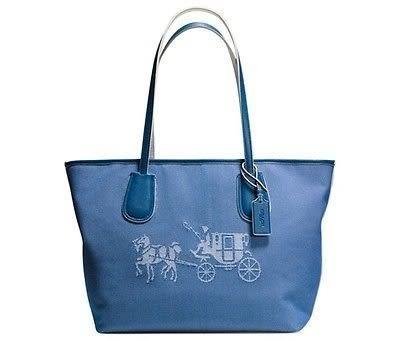 米菲客 COACH 35337 經典馬車logo織布皮革材質托特包 手提/肩背包 (藍)