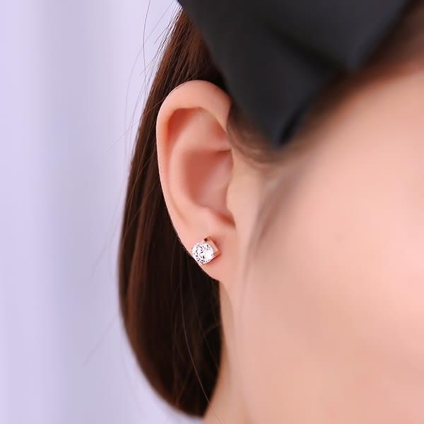 316L醫療鋼 6mm單鑽 天然白水晶 耳環耳針釘-玫瑰金 防抗過敏