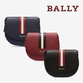 【台中米蘭站】全新品 BALLY  經典織帶荔枝牛皮半圓弧斜背包 (多色)