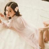 女童睡裙宮廷風夏季短袖薄款蕾絲公主裙小孩兒童裝家居服寶寶睡衣