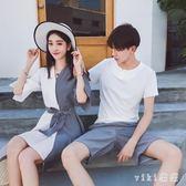 中大尺碼 情侶套裝不一樣的2018新款夏裝沙灘個性學生連身裙 nm2395 【VIKI菈菈】