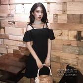 港味復古chic吊帶荷葉邊修身顯瘦性感一字領露肩連身裙小黑裙