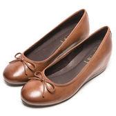 DIANA 優雅姿態--復古色滾邊蝴蝶結平底鞋-棕★特價商品恕不能換貨★
