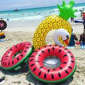 雙十二年終盛宴新款超大游泳圈 西瓜 菠蘿造型 充氣浮排浮床游泳圈成人腋下圈   初見居家