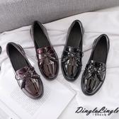 Dingle丁果ღ英倫風圓頭蝴蝶結流蘇漆皮粗跟褔樂鞋小皮鞋(二色34-40)