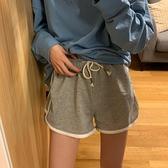 運動短褲女 小個子高腰運動短褲顯瘦女休閒褲子夏季寬鬆直筒灰色薄款寬管熱褲【快速出貨】