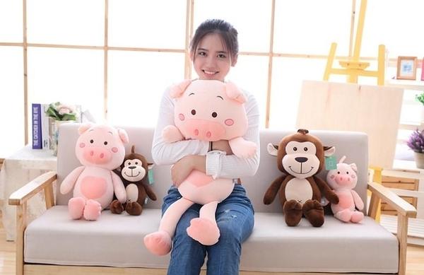 【60公分】創意小豬小猴抱枕 布偶 絨毛娃娃 聖誕節交換禮物 生日禮物 兒童節禮物 情侶玩偶