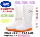 男女中高筒食品衛生靴白色雨鞋雨靴防滑耐磨套鞋水鞋水靴耐酸堿油 color shop