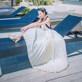 洋裝-細肩帶露背綁帶雪紡波希米亞風女連身裙73pu65[巴黎精品]